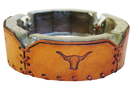 Embossed Leather Texas Longhorn Ashtray