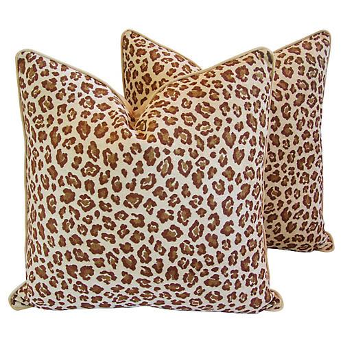Safari Leopard Spot Velvet Pillows, Pair