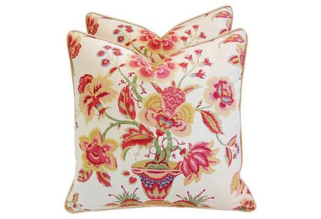 English Floral & Velvet Pillows, Pair