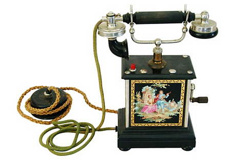 Antique French Hand-Painted Telephone