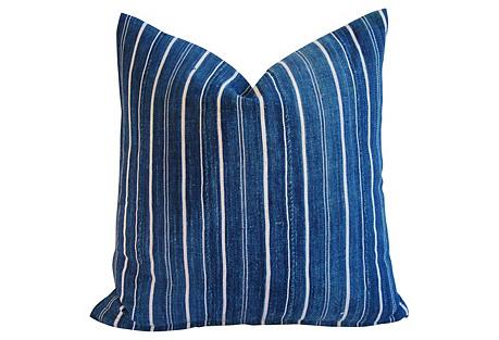 Woven Indigo Blue Striped Batik Pillow