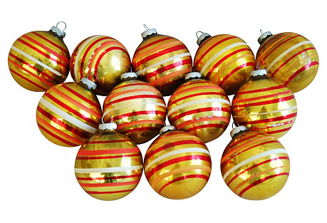 Gold Christmas Ornaments w/Box, S/12