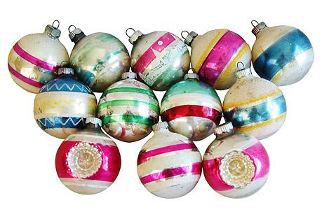 1960s Christmas Ornaments w/Box, S/12