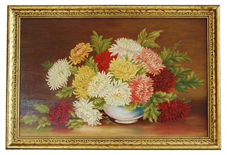 1950s Floral Still Life Chrysanthemums