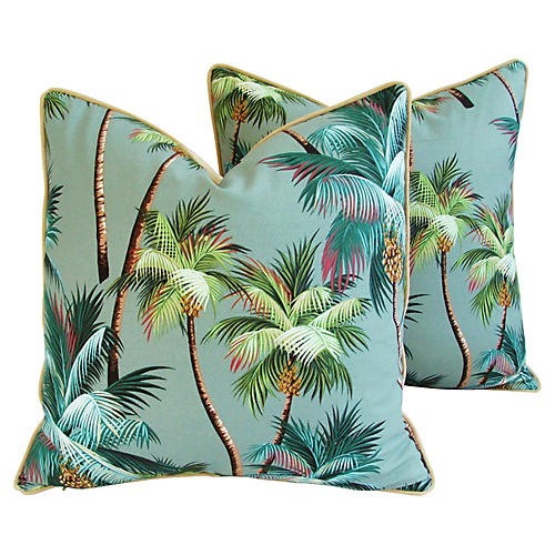 Tropical Coconut Palm Tree Pillows, Pair