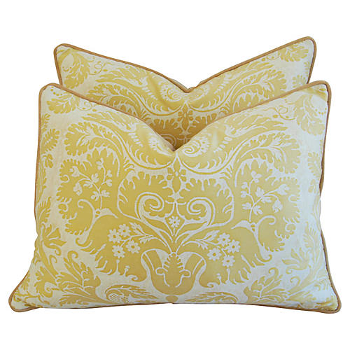 Italian Fortuny Demedici Pillows, Pair