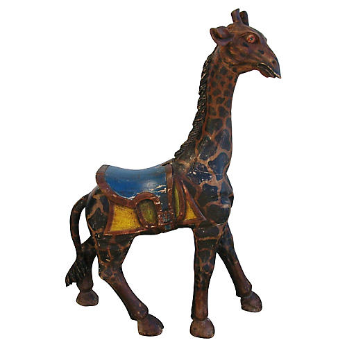 1940s Carved Wooden Carousel Giraffe