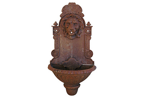 French Iron Lion Wall Lavabo Planter