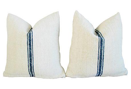 French Grain Sack Textile Pillows, Pair
