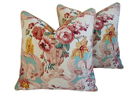 Mulberry Floral Rococo Pillows, Pair