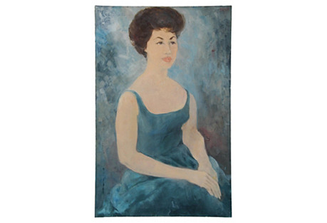 Midcentury Lady in Turquoise Portrait