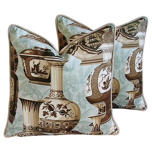 English Chinoiserie Vase Pillows, Pair