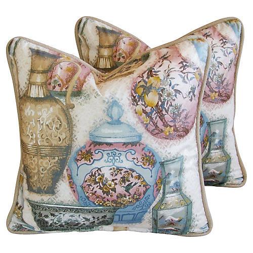 English Chinoiserie Vase Pillows, Pair
