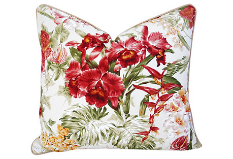 Tropical Orchid Barkcloth & Linen Pillow
