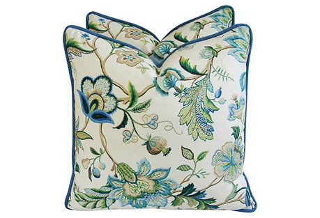 Blue & White Floral Linen Pillows, Pair