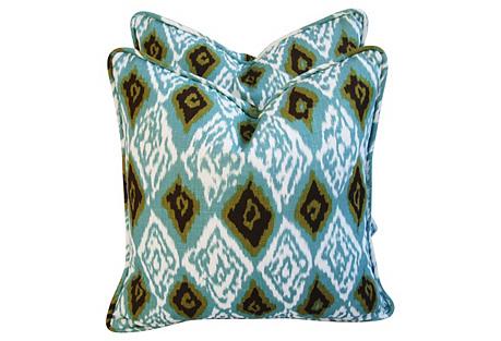Diamond Flame Linen Pillows, Pair