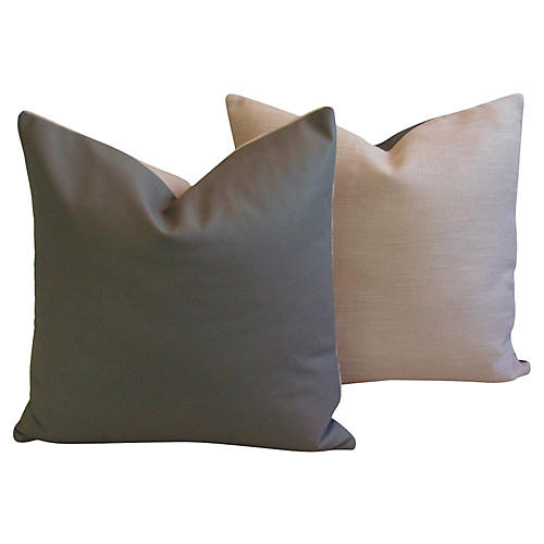 Italian Gray Leather & Linen Pillows, Pr