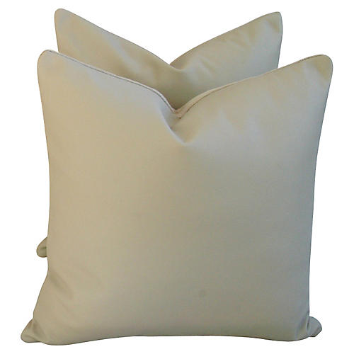 Italian Leather & Linen Pillows, Pair