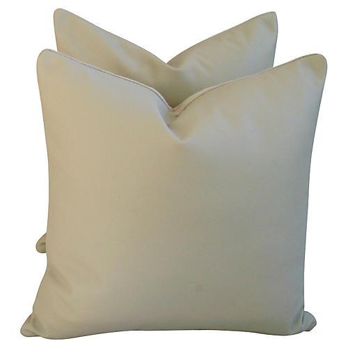 Italian Leather & Velvet Pillows, Pair