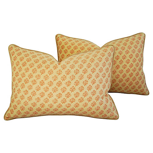 Italian Fortuny Persiano Pillows, Pair