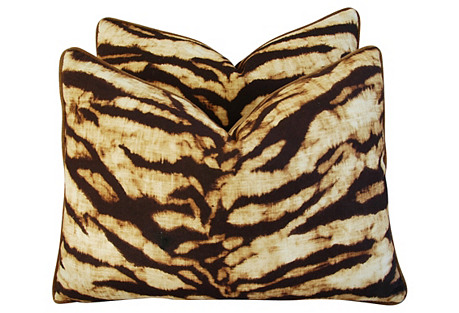 Safari Tiger Linen & Velvet Pillows, Pr
