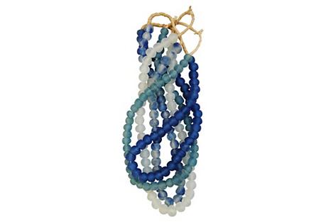 Ocean Blues Glass Bead Strands, S/4