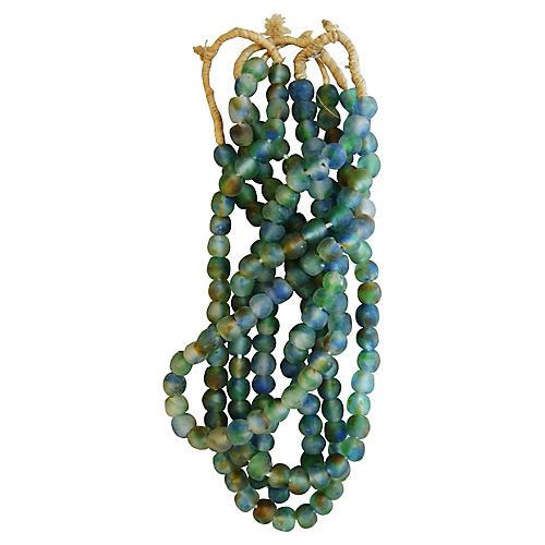 Greens/Blues Glass Bead Strands, S/4