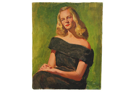 Midcentury Lady w/ Golden Hair Portrait