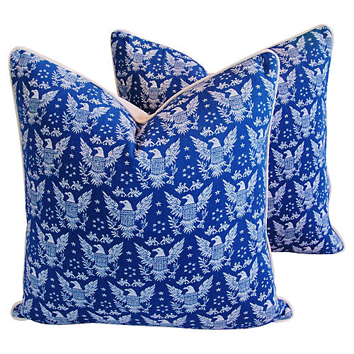Blue & White Patriotic Eagle Pillows, Pr