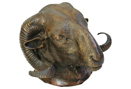 Bronze Rams Sculpture