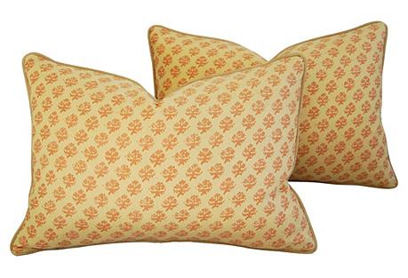 Italian Fortuny Persiano Pillows, Pair