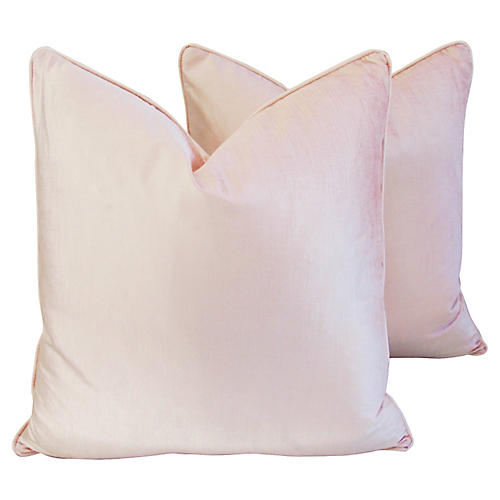 Champagne Pink Velvet Pillows, Pair
