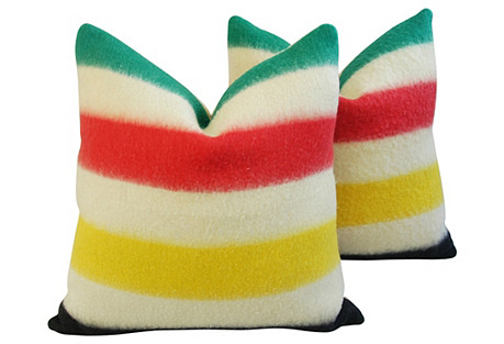 Hudson's Bay Camp Blanket Pillows, Pair
