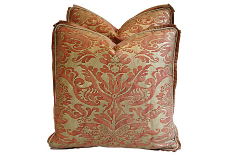 Italian Fortuny Corone Pillows, Pair