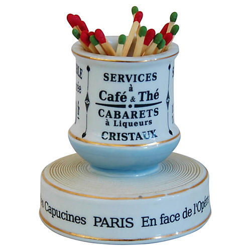 French Porcelain Match Striker & Holder