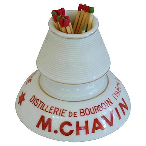 French Porcelain Match Striker & Holder