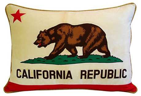 California Republic Bear Flag Pillow