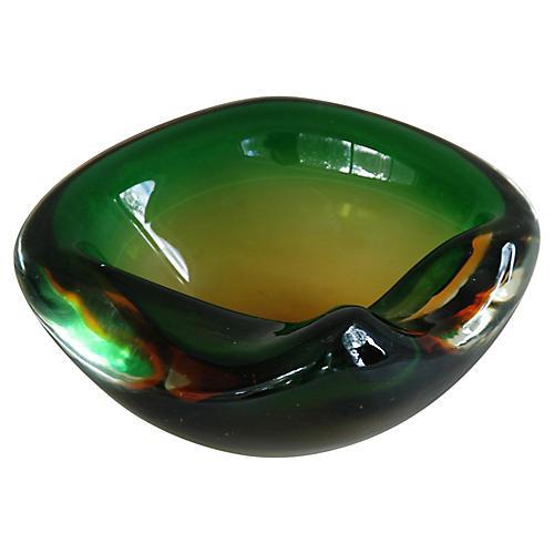 Green & Amber Murano Art Glass Dish