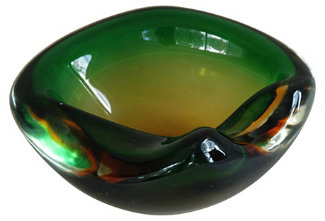 Green & Amber Murano Art Glass Dish