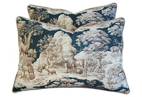 Highland Toile Deer & Velvet Pillows, Pr