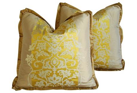Italian Bergamo Silk/Velvet Pillows, Pr