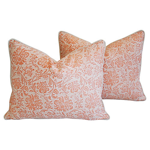Italian Fortuny Cimarosa Pillows, Pair