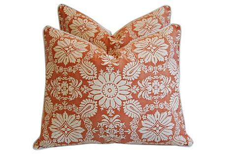 Italian Fortuny Impero Pillows, Pair