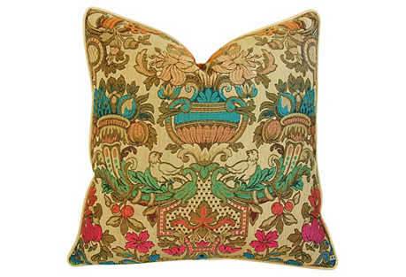 Antique Italian Embroidered Silk Pillow