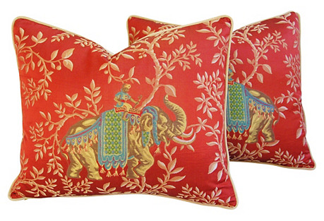 French Embroidered Silk Pillows, Pair