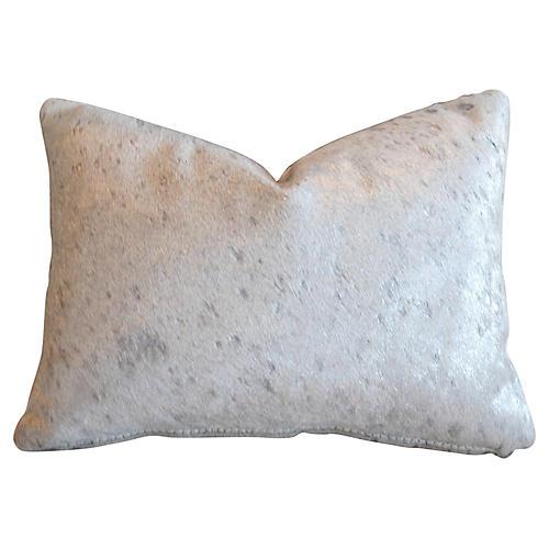 Metallic Silver & White Cowhide Pillow