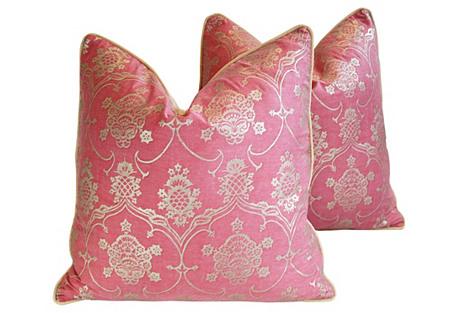 Italian Fortuny Veronese Pillows, Pair