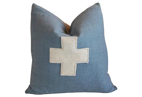Powder Blue Appliqué Cross Pillow