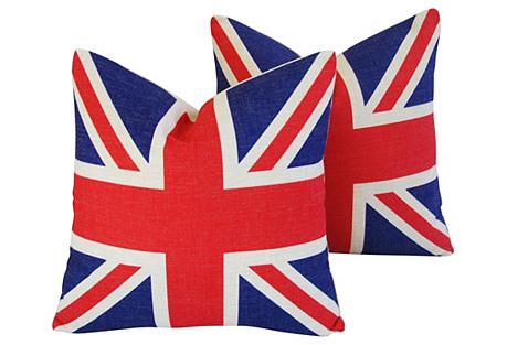 British Union Jack Flag Pillows - Pair