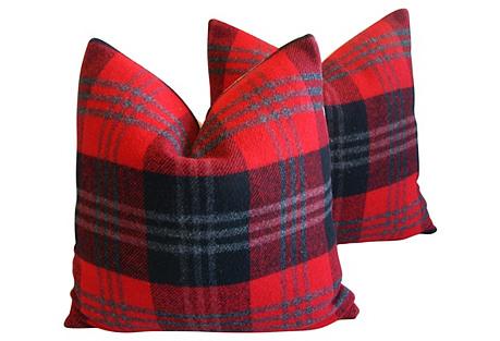 Scottish Tartan Plaid Wool Pillows, Pair